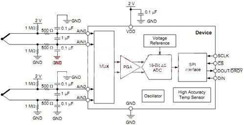 如下图,为一早期热电偶处理电路.